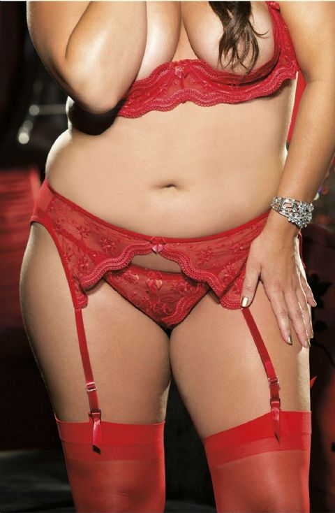 Shirley of Hollywood - Scalloped Embroidered Suspender Belt Red